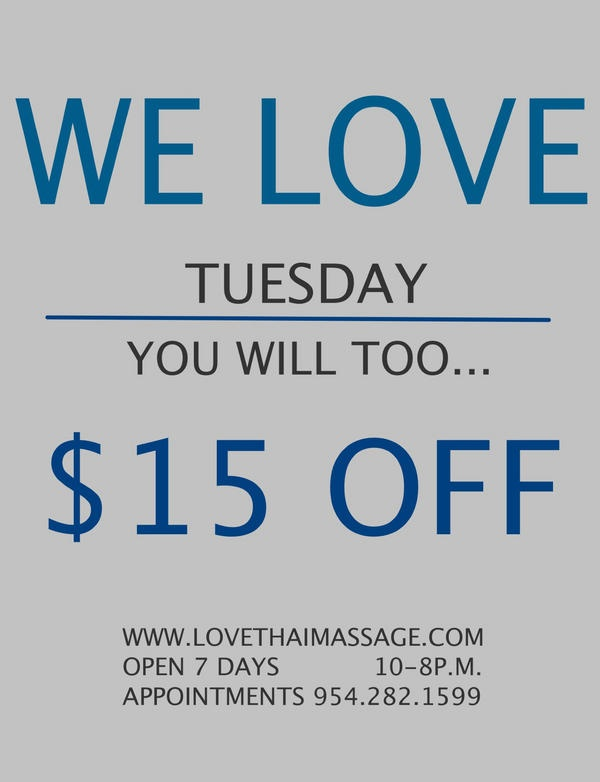 18 best thai massage images on pinterest thai massage massage special for your tuesday from love thai massage in fort lauderdale florida fandeluxe Gallery