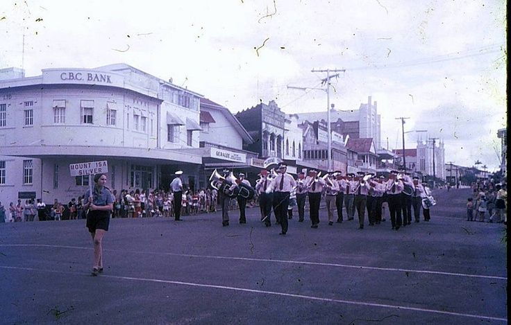 Jun 1973 Bands at cnr of Rankin St & Edith St Innisfail, part of the Innisfail Band Festival.