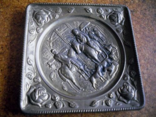 Square hunting scene brass wall plaque. Sold