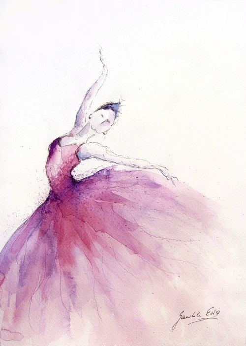 Original Watercolor Art Painting Of BALLERINA By EwArtStudio