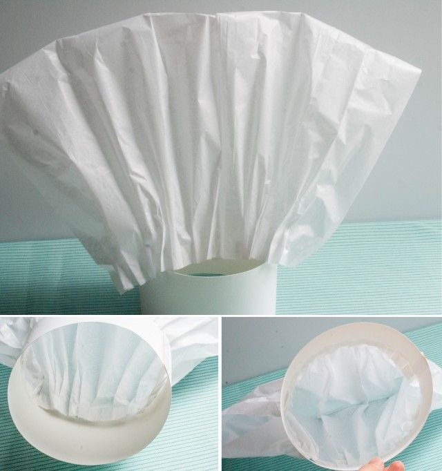 DIRECTIONS:  1. First measure your hat band width/length and cut the poster board to size (measured:17″ long by 3.25″ tall – but these were decorations, not to actually fit a real head) 2. Once band is cut, unfold tissue paper 3. Begin at top edge of tissue paper, and make 1/4″ size pleats (about 5 at a time) 4. As you create about 5 pleats, tape the pleats in place along the edge length of the band.  Continue to do this until the tissue has been pleated & ends at halfway point of band...