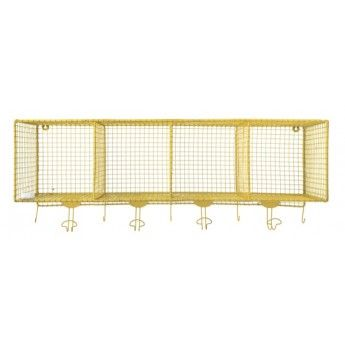 Wire Pigeon Hole Shelf with Hooks (yellow)