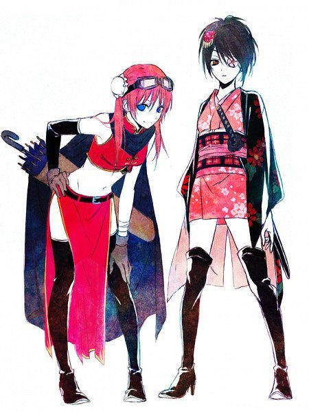 Gintama ~~ I HATED it when it was revealed that the character on the right was a girl. Ugh.