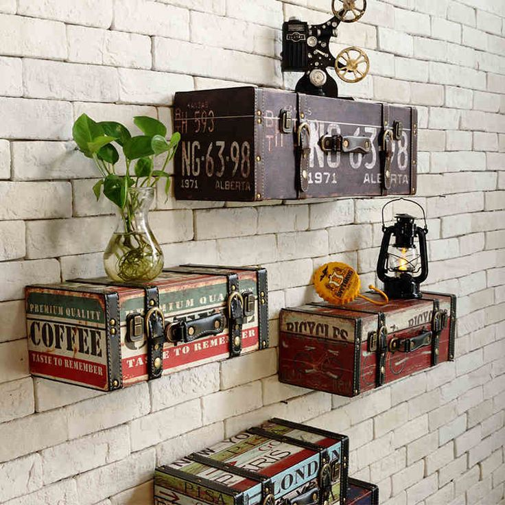 Vintage PU Luggage leather suitcase painting ktv bar decorative painting wall decoration-in Plaques from Home & Garden on Aliexpress.com   Alibaba Group