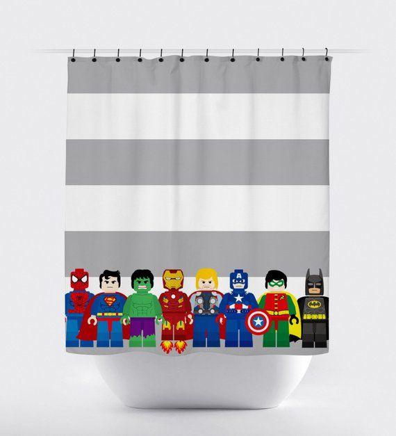 Mini Block Super Hero Shower Curtains Superhero Shower Curtain