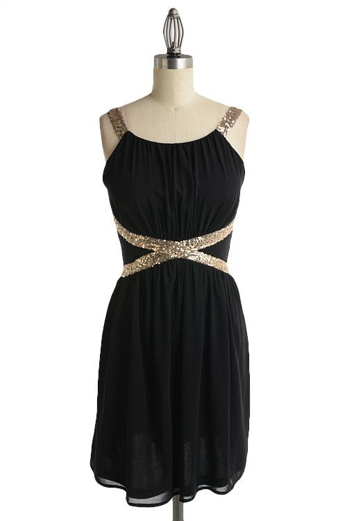 Black n gold party dress