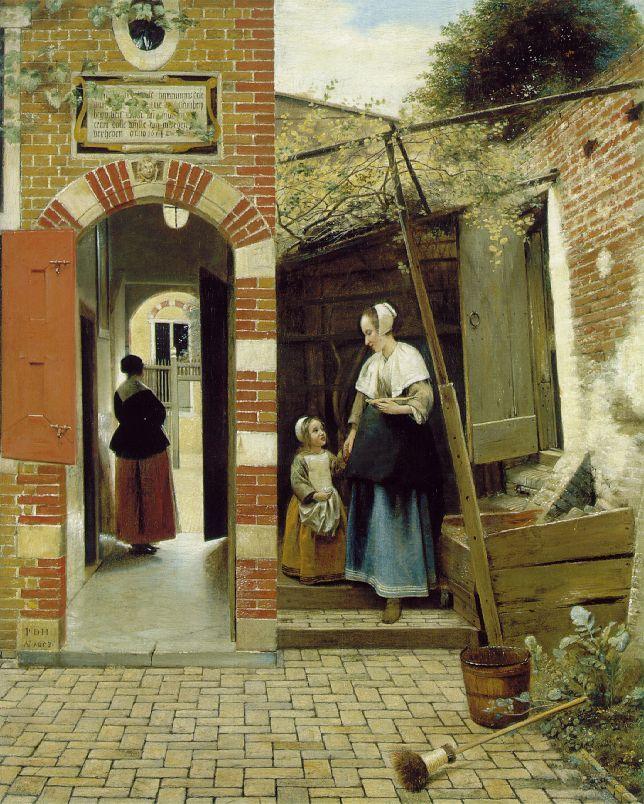 ピーテル・デ・ホーホ 婦人と子どものいるデルフトの家の中庭