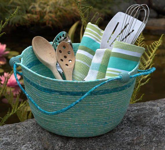 Housewarming coiled rope storage basket