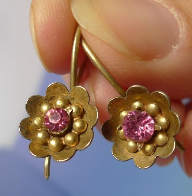 Vintage USSR Soviet Jewelry Gold Plated Silver 875 Drop EARRINGS marked #ZP #DropDangle