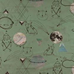 Bomull grønn m abstrakt verdensrom print