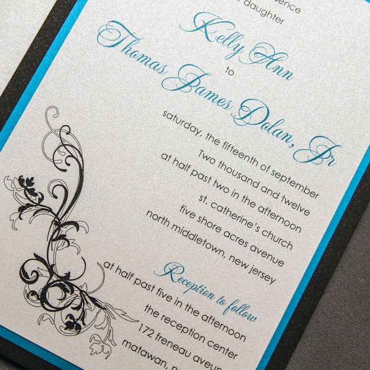 wedding reception invites%0A Silver and Blue Wedding Invitations