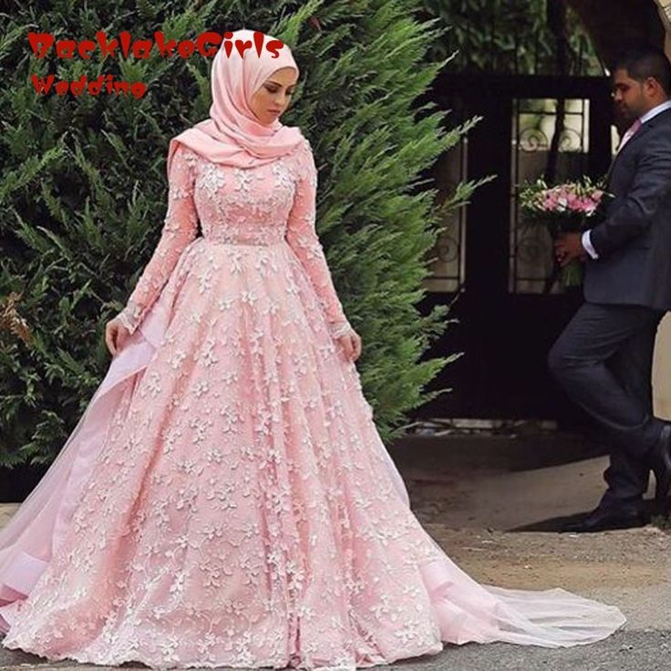 ==> [Free Shipping] Buy Best 2016 Muslim hijab Wedding Dresses Elegant A Line Pink Lace Sleeve Long Applique Plus Size china Bridal Gowns boda weding dress Online with LOWEST Price   32714836647