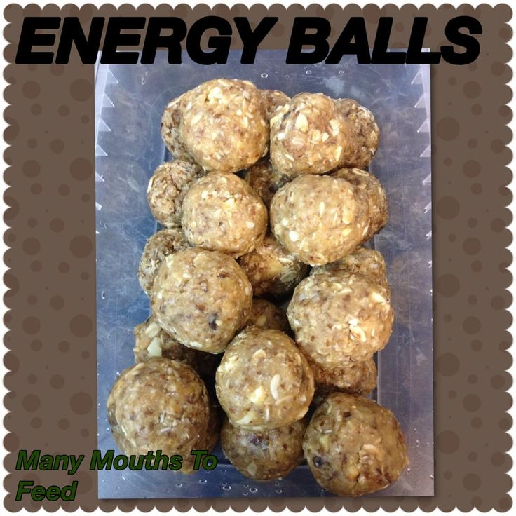 ENERGY BALLS   1 cup rolled oats  1/2 cup peanut butter  1/3 cup honey  1 cup coconut  1/2 cup flaxseed ground   1 t vanilla  1/2 cup of sultanas  1/2 Cup cashews  a little bit of water   Blended all together in food processor.