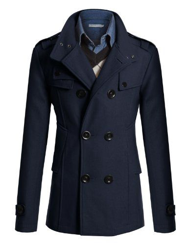 Doublju Mens Wool Slim Double Breasted Half Trench Coat >>> You can get additional details at the image link.