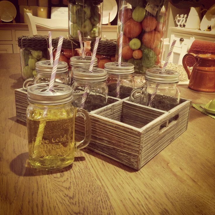 Mason Jar drinking glasses now instock at Buffet & Hutch! beautiful rustic wooden glass holder also fits these in perfectly. A very easy wasy to make others envious at your next gathering.