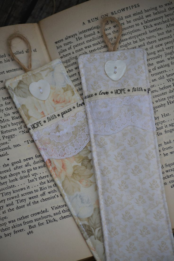 FREE SHIPPING:  Set of 2 Fabric Bookmarks, Bookmarks, Vintage, Floral, Lace, Ribbon, Buttons, Cream, Hessian Twine, Natural by HeartmadeSouthAfrica on Etsy