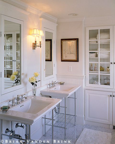 Sinks are a bit big, want more counter space, but I love the vanities! And built-in medicine cabinets!