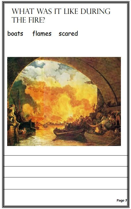 A simple booklet about the Great Fire of London. There are only headings, illustrations and key words on each page so children who have difficulty reading can use the pictures to write factual sentences.