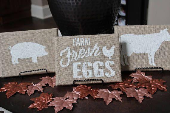 Farmhouse Burlap Signs Cow Pig Farm Fresh Eggs