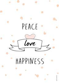 Kerstposter met quote 'peace, love and happiness' - tante kaartje - www.tante-kaartje.nl
