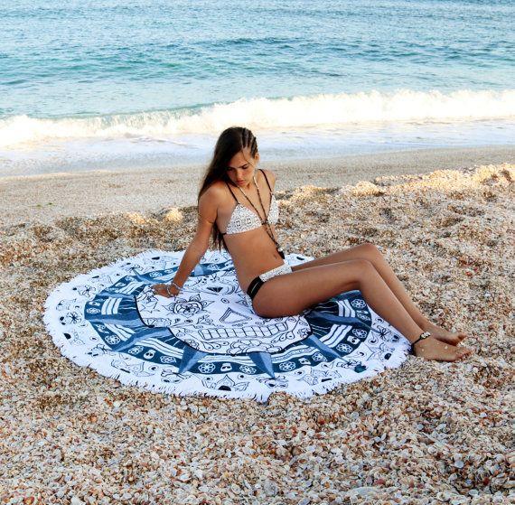 Round Beach Towels Roundie Towel Sugar Skull Circle Beach Towel Large Beach Towel Beach Sheet Large Beach Blanket
