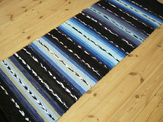 Handwoven rag rug Black and blue stripes ready for by Wilyville, $45.00