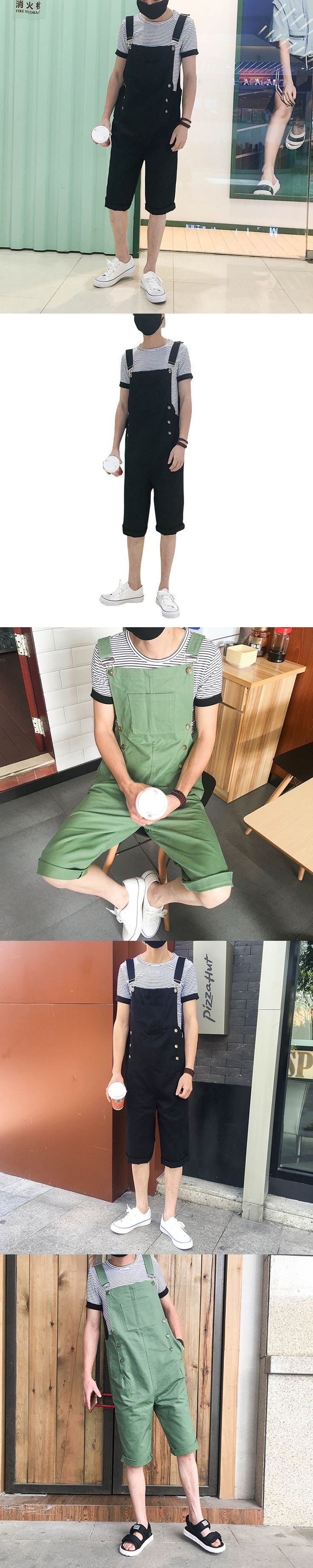 New Summer Loose Black and Army Green Men Jumpsuit Fashion Short Denim Overalls Short Jumpsuit Pant Male Harem Jeans Hip-Hop