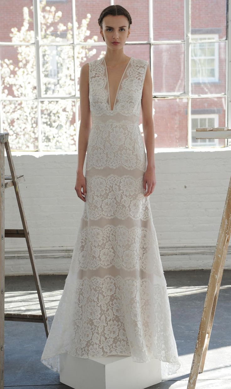 Sheer lace gown with plunging neckline | Lela Rose Spring 2017 | https://www.theknot.com/content/lela-rose-wedding-dresses-bridal-fashion-week-spring-2017