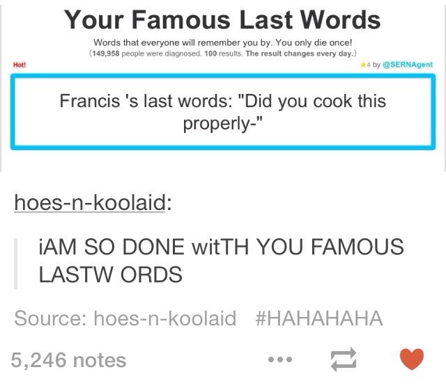 IS FRANCE SAYING THIS TO ENGLAND AFTER ENGLAND GAVE HIM SOME OF HIS FOOD<<< THATS WHAT I THOUGHT TOO XD