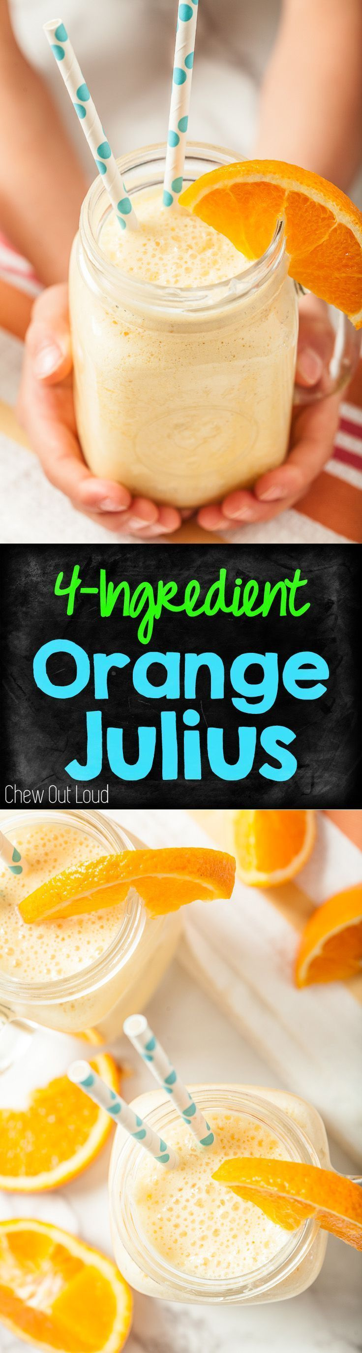 5 minutes is all you need to make this refreshing Orange Julius! It's healthy, frothy, and just like what you get at the mall, without going to the mall.  #orange #smoothie #julius www.chewoutloud.com
