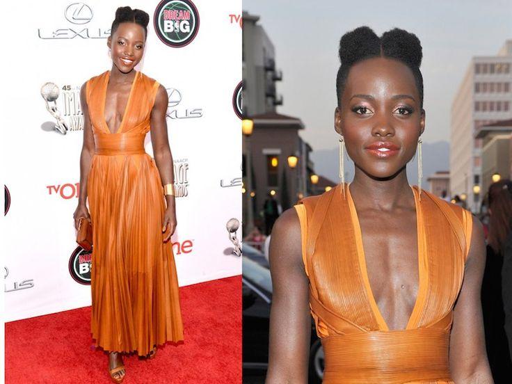 ClioMakeUp-trucco-vestito-abito-arancione-arancio-aranciato-abbinare-ombretto-rossetto-lupita