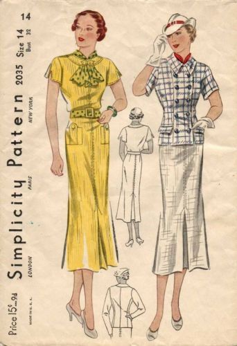 1930s Dress & Jacket Pattern | Simplicity 2035
