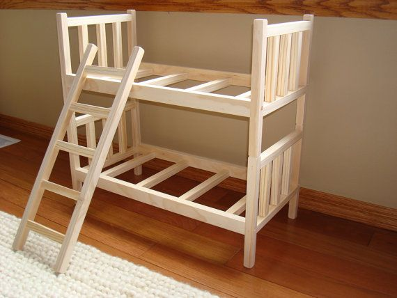 "USA Handmade Solid Wood Stackable Doll Bunk Bed With Ladder fits 18""-20"" American Girl"