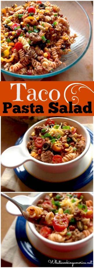 Taco Pasta Salad Recipe  |  whatscookingamerica.net  |  #taco #pasta #salad