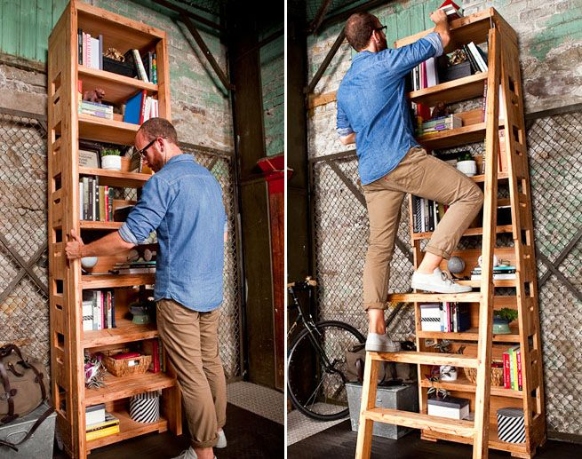 While Closed, Ladder Sits Flush And Rungs Align Seamlessly With Lower  Shelves. Generous Handholds