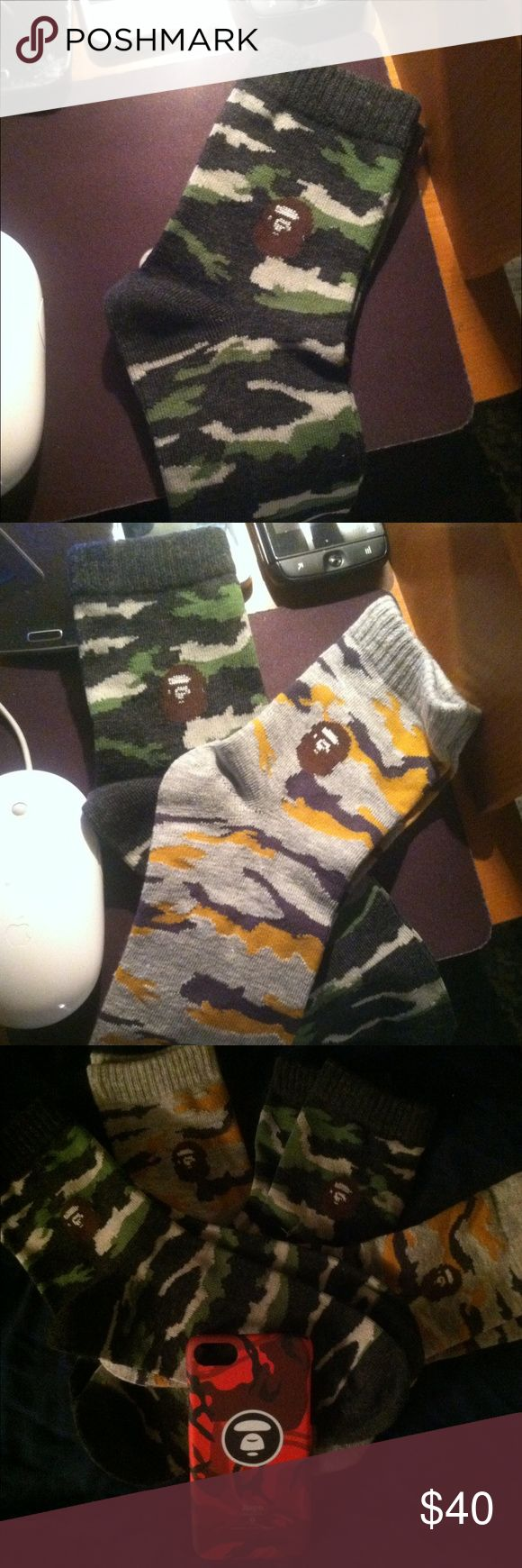 Tiger camo Bape socks by A Bathing Ape Green grey camo Bape Socks by A Bathing Ape Bape A bathing Ape Accessories Hosiery & Socks