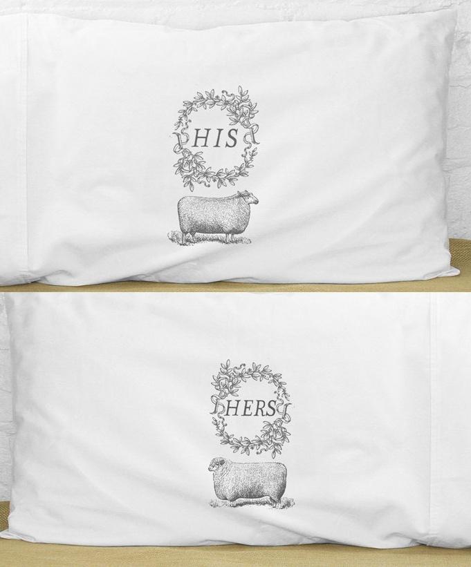 His + Hers Sheep Pillows / kinshippress on etsy