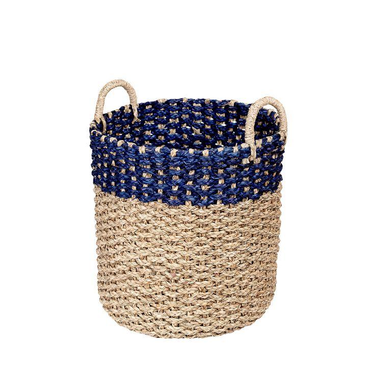 Kosz z trawy morskiej A'ttop navy #kosz #basket #seagrass #trawa #morska #homemade #manufcture #design #rękodzieło #unique #limitededition #amiou #onemarket.pl