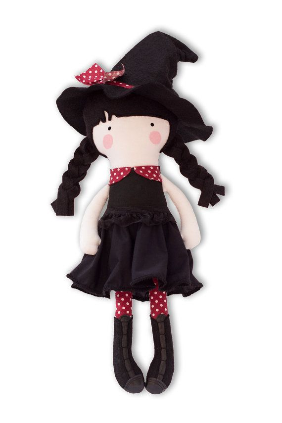 Halloween Witch Doll Halloween Cloth Doll Fabric by RibizliDesign