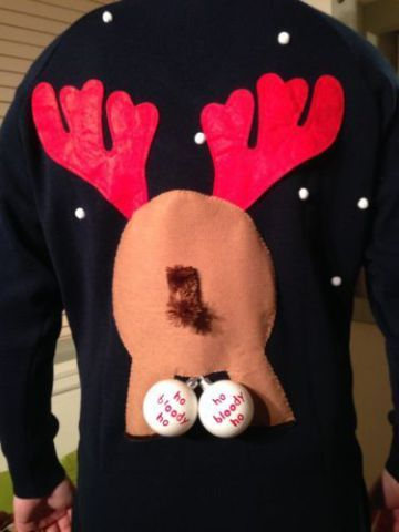 Some of these ugly sweaters are intended to be risqué, and others  perhaps unintentionally naughty. Regardless, the results are hilarious.  Here's are 20+ great examples of the new trend in Ugly Christmas  Sweaters, the ugly, naughty and oh so  very wrong...