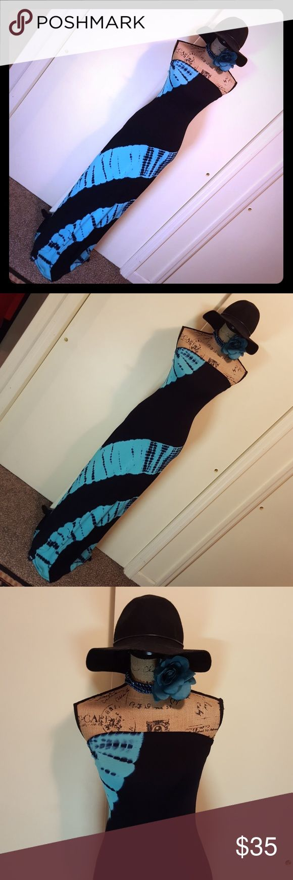 💙LONG STRAPLESS MAXI DRESS💙 💙Black with Turquoise TieDie Maxi💙 💙Size Medium💙 💙Fits More Like A Size Small💙 💙Listing As A Size Small💙 💙Brand On Last Picture💙 💙New Never Worn💙 💙Excellent Condition💙 💙 Dresses Maxi
