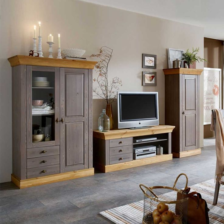 Wohnzimmer Anbauwand In Grau Kiefer Massivholz 3 Teilig Jetzt Bestellen Unter