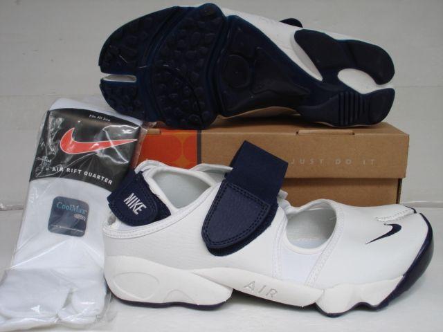 Nike Air Rift White Navy Blue Leather  90236cdb11