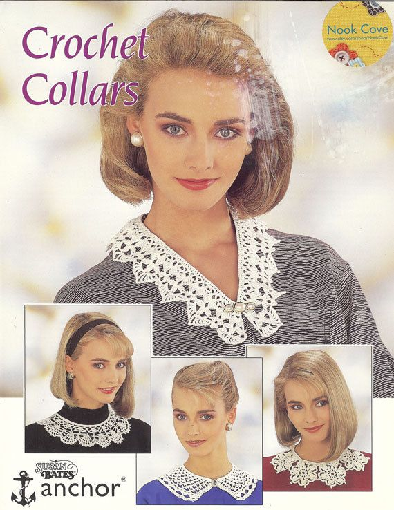 Vintage Crochet Collars by Susan Bates Leaflet 17061 by NookCove, $4.25  Vintage Crochet Collars by Susan Bates Leaflet 17061 is 4 pages featuring 4 styles of collars to grace your clothing:  V Collar, Round Collar, Shaped Collar, Motif Collar.: Crochet Collars, Style, Shaped Collar, Bates Leaflet, Round Collar, Leaflet 17061