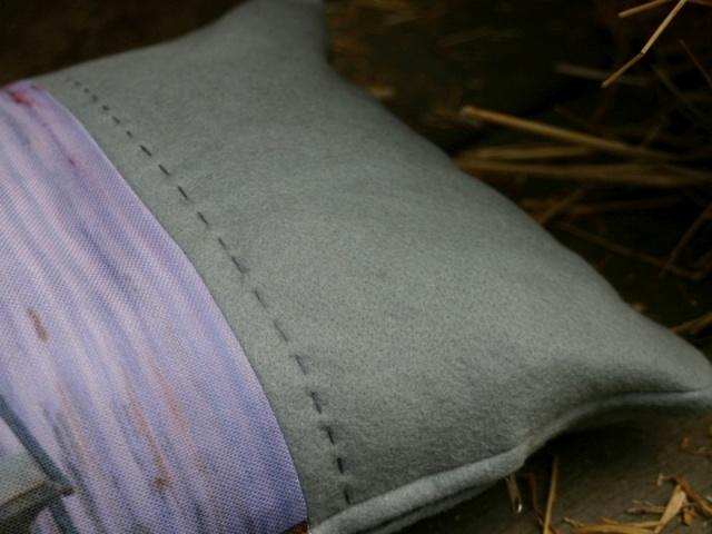 Homespun cushion close-up detail
