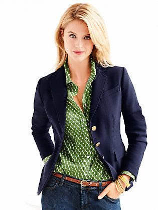 This is a classic Talbots blazer shirt combo. Pairing the repetitive and discreet pattern with a solid piece over it works well, as does the green blue color contrast (look to Ralph Lauren for more inspiration in marching these two tones). Overall, the more formal and structured top part works well with the casual jeans and the skinny belt. Approved!