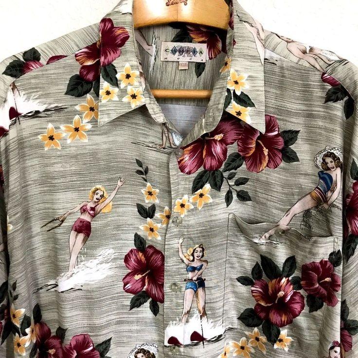 Campia Moda Pinup Girl Hawaiian Aloha Shirt Sz XXL Retro Water Ski Rockabilly #CampiaModa #HawaiianRockabillyRetroParrothead