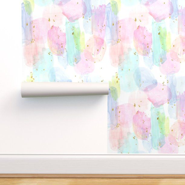 Peel And Stick Removable Wallpaper Rainbow Watercolor With Stars Ink Wash Pastel Walmart Com In 2021 Rainbow Wallpaper Peel And Stick Wallpaper Self Adhesive Wallpaper