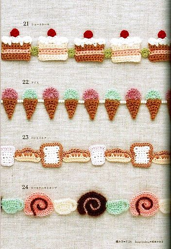 FREE Crocheted Cake, Sweets and Ice Cream Garland or Edging Crochet Pattern