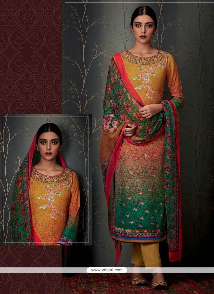 Impeccable Pashmina Print Work Designer Straight Salwar Suit Model: YOS7964